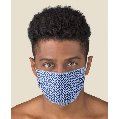 Couple of Protective Blue color washable masks for Adult made of TNT and Natural cotton